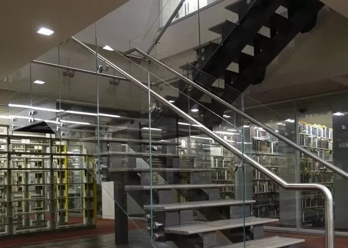 U Shape Tempered Glass Stair Railings Interior Steel Staircase   Glass Stair Railings Interior   Indoor   Architectural Modern Wood Stair   Stair Banister   Stainless Steel   Glass Balustrade