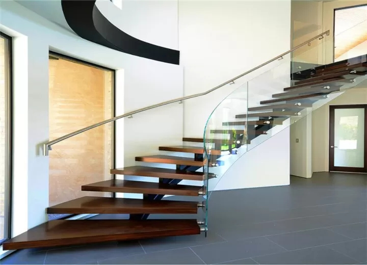 Apartment Building Curved Stairs Wood Tread Stainless Steel | Metal Stairs With Wood Treads | Straight Steel | Single Steel Stringer | I Beam | Metal Railing | Timber