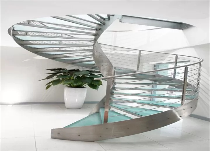 Residential Metal Spiral Staircase Stainless Steel Railing | Metal And Glass Staircase