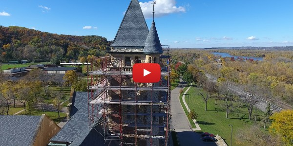 drone footage building restoration