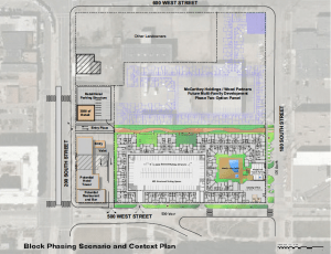 The site plan for both phases of the Alta Gateway development.