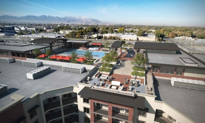 Rendering of the proposed rooftop amenities in the 4th West Apartment project.