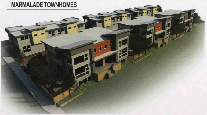 Rendering of the Marmalade Townhomes. Courtesy Think Architects.