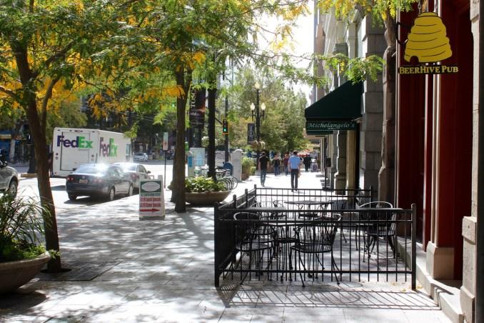 Outdoor dining on Main Street creates street level activity.