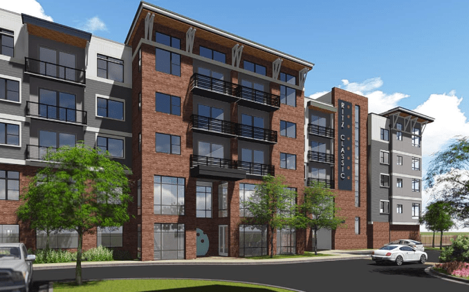 Rendering of the Ritz Classic Apartments. Image courtesy of Think Architects.