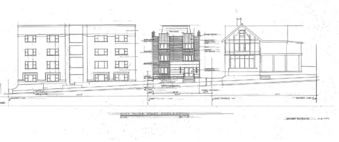 Artist sketch of the proposed apartments South Temple. Image courtesy Salt Lake Planning Division.