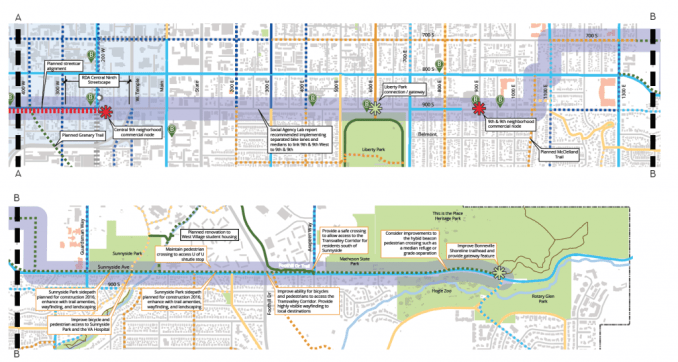 A map of the 9-Line extension. Proposed GREENbike stations are indicated with the green B. Image courtesy Salt Lake City.