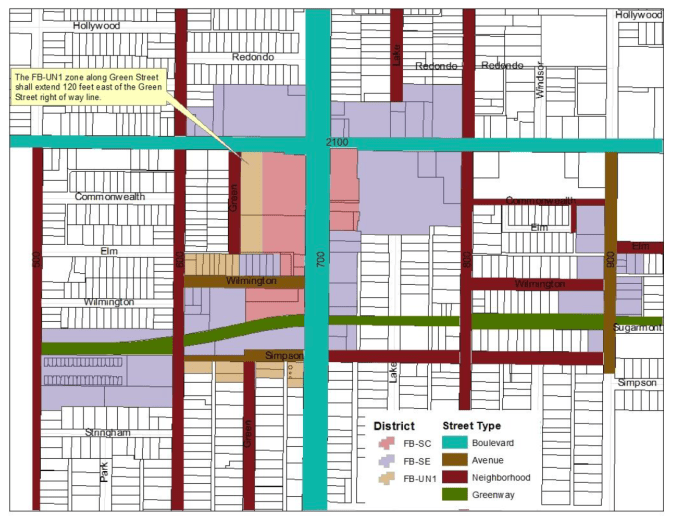 Map of the proposed zoning changes in the Sugar House Streetcar Corridor Master Plan. Image courtesy Salt Lake City planning.