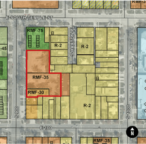 Zoning map of the 900 East Block of South Temple. Image courtesy Salt Lake Planning Division.
