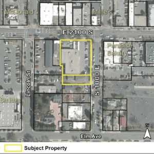 Aerial map of the site for 21 by Urbana. Image courtesy Salt Lake City.