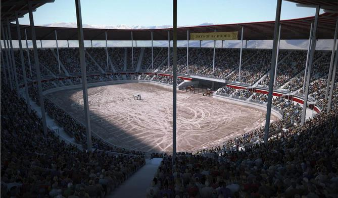 Rendering of the proposed arena at the Utah State Fair Park. Image courtesy the Utah State Fair Corporation.