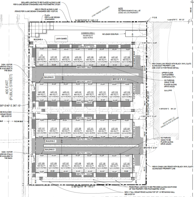 Site plan for the S-Line Townhomes. Image courtesy South Salt Lake City planning documents.