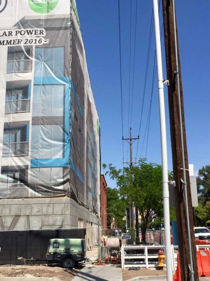 The 360 Apartments are built right up to the sidewalk on 400 West. Photo by Isaac Riddle.