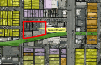 Zoning map for the area surrounding the proposed The Liberty Place Townhomes on the 600 East block of Wilmington Avenue. Image courtesy Salt Lake City planning documents.
