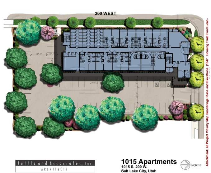 The site and landscaping plan for the TenFifteen Apartments. Image courtesy Salt Lake City.