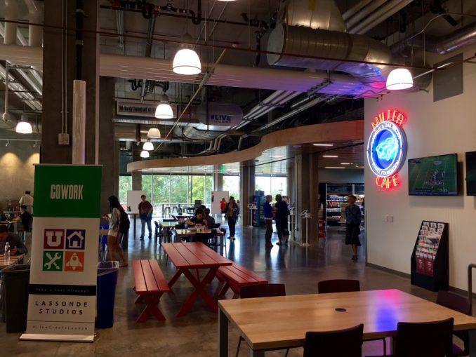 The Lassonde Studios' Larry H. & Gail Miller Family Cafe in the Neeleman Hanger. Photo by Isaac Riddle.