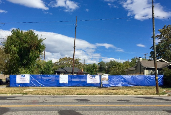 The construction site of the mixed-use building at 1059 E 900 South. Photo by Isaac Riddle.