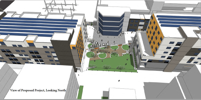 Aerial rendering of the Paperbox development looking north near 200 South, as designed by VCBO Architecture. Image courtesy Salt Lake City.