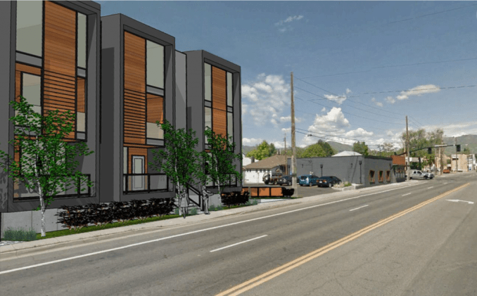 Rendering of the Richard Street Condos looking east from the intersection of Richard Street and 1700 South as designed by Blalock and Partners. Image courtesy Salt Lake City.
