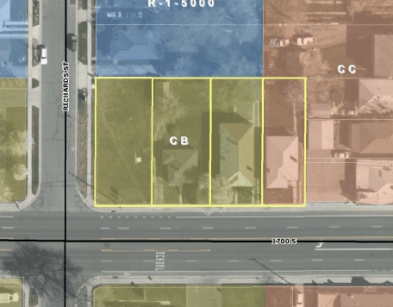 Aerial zoning map of the site area for the Richard Street Condos. Image courtesy Salt Lake City.