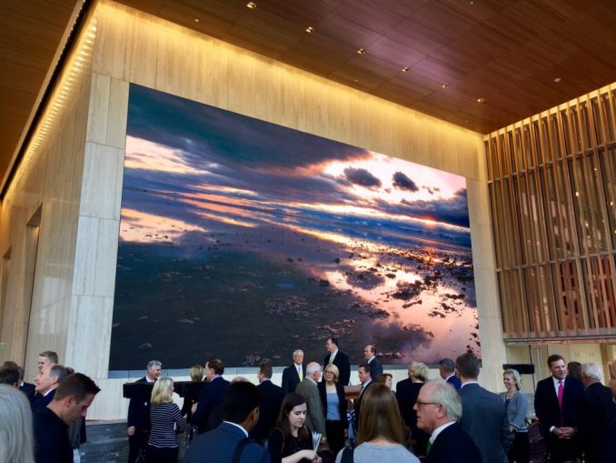The 720 square-foot video wall in the lobby of 111 Main. Photo by Isaac Riddle.