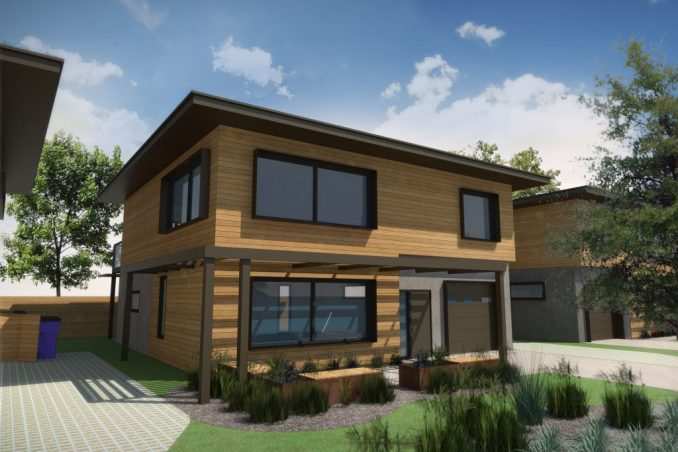 Rendering of House type B in the Living Zenith community. Image courtesy Redfish Builders.