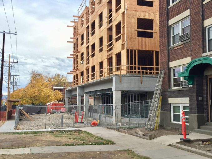 The Bonneville Apartments are built right up to the sidewalk level on 500 East. Photo by Isaac Riddle.
