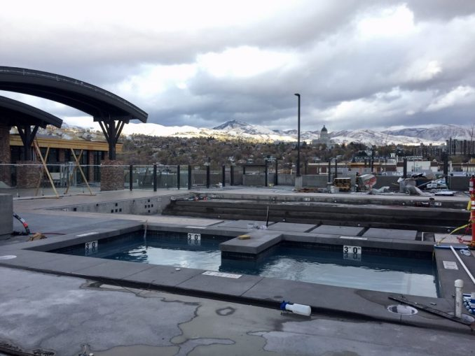 The 4th West Apartments features a roof deck pool and jacuzzi that provides views of the Utah State Capitol. Photo by Isaac Riddle.