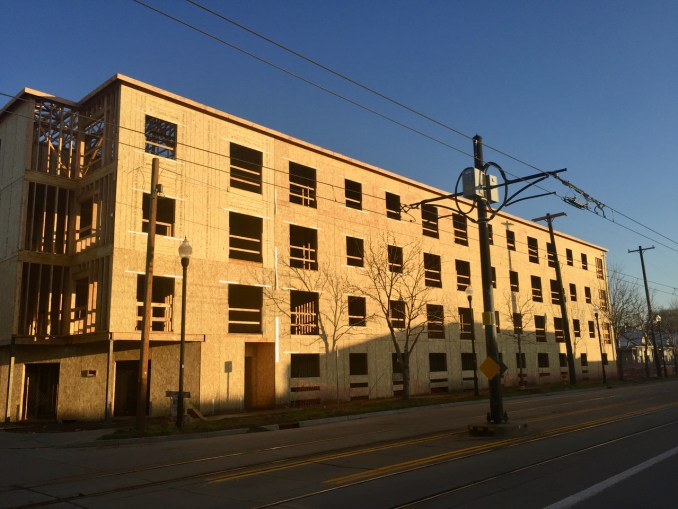 The west face of the 1015 South Apartments as seen from the 200 West. Photo by Isaac Riddle.