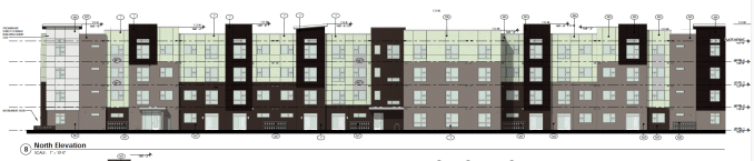 Rendering of the north face of the second phase of the West Station Apartments as designed by the Richardson Design Partnership. Image courtesy Salt Lake City planning documents.