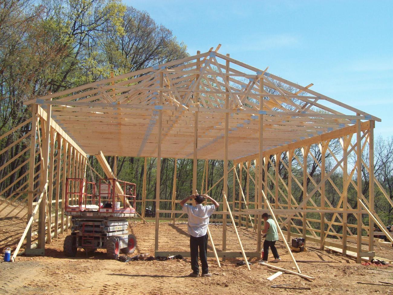 medium resolution of pole barn frame during construction