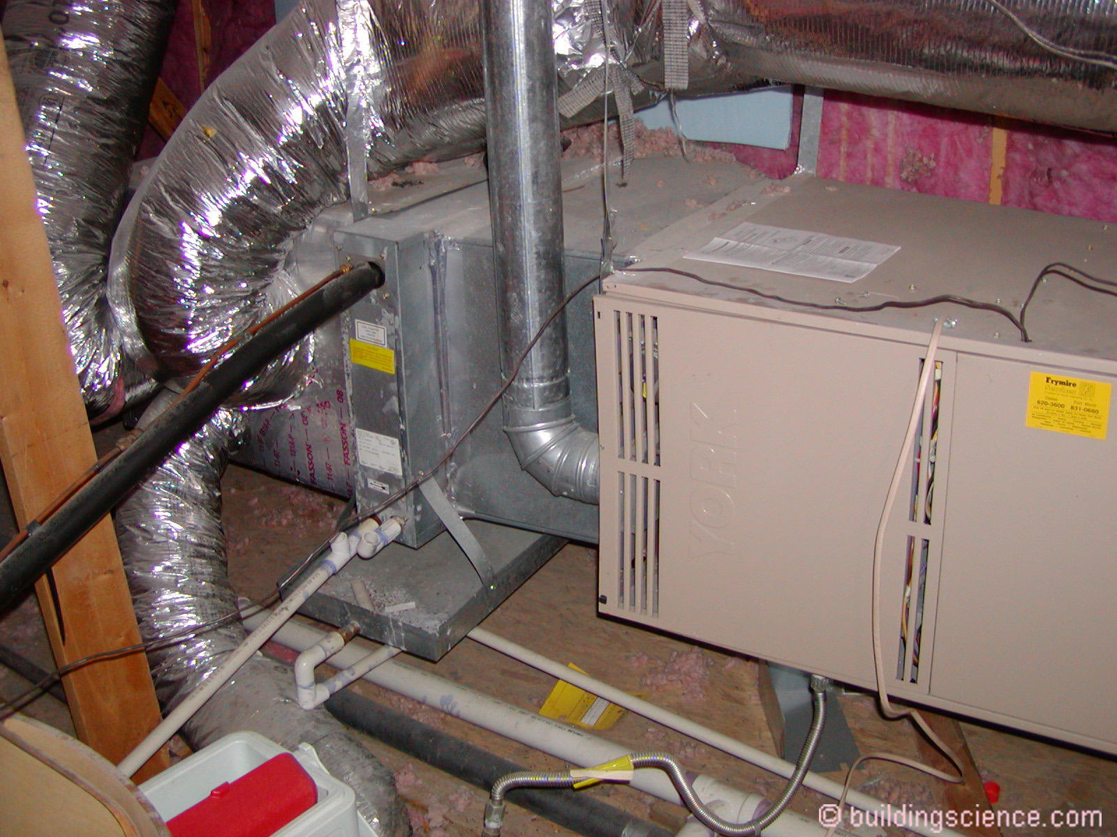 photograph 2 attic air conditioner and furnace standard vented combustion gas furnace with a single stage air conditioner located in a south texas attic  [ 1600 x 1200 Pixel ]