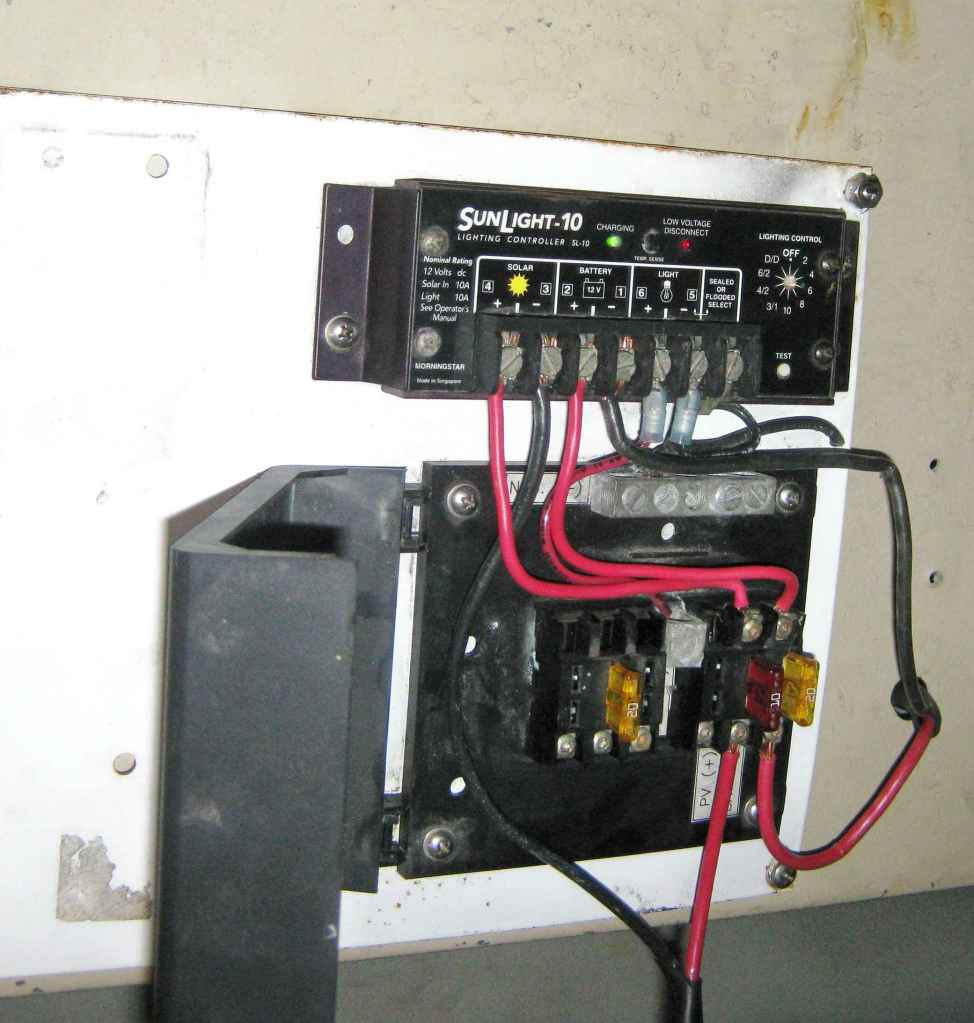 medium resolution of fuse block above and morningstar charge controller below