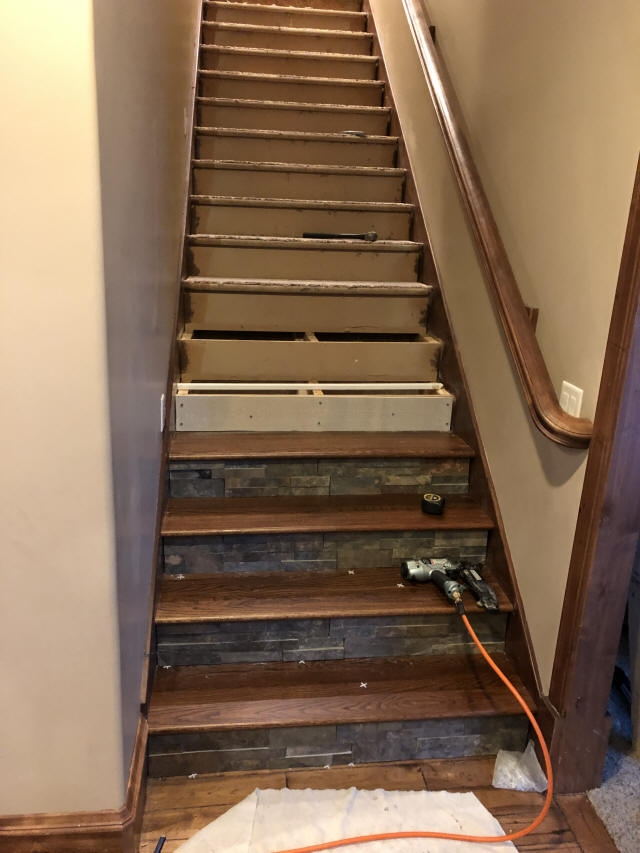Staining And Installing Hardwood Stairs Remodel Old Carpet Stairs | Installing Hardwood On Stairs | Wooden | Painted Wood | Handrail | Nosing | Vinyl