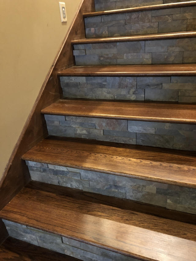 Staining And Installing Hardwood Stairs Remodel Old Carpet Stairs   Hardwood Steps And Risers   Brown Stair   Carpet Tread   Bullnose   Maple   Dark Wood