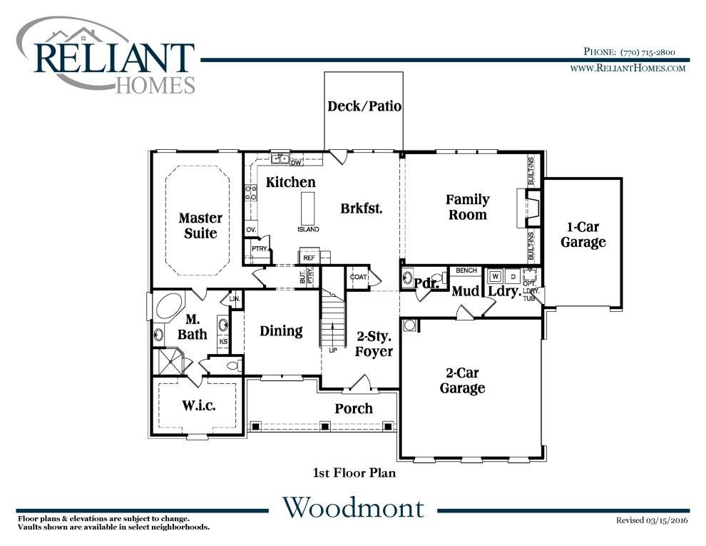 Woodmont B1 SE Reliant Homes New Homes In Atlanta
