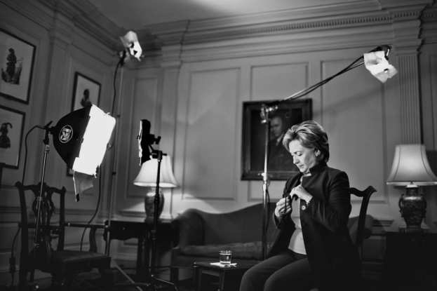 Secretary of State Hillary Clinton gets ready for a video recording session at the State Department in Washington, D.C. on Sept. 16, 2009. Secretary Clinton pre-taped greetings to various groups whose functions she was not able to attend. [Photo by Melissa Golden]