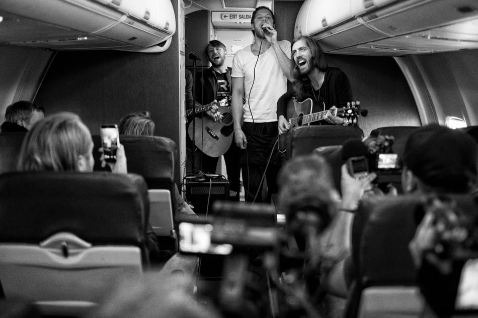 Imagine Dragons at the airport in Las Vegas, NV on Tuesday, February 24, 2015.