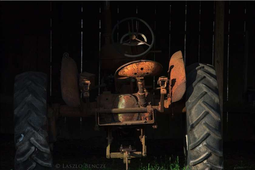 She heard the brake on the large tractor slip and, looking up, she saw it move forward, calculating its own path. Later she remembered that she had seen the Negro jump silently out of the way as if a spring in the earth had released him and that she had seen Mr. Shortley turn his head with incredible slowness and stare silently over his shoulder and that she had started to shout to the Displaced Person but that she had not. She had felt her eyes and Mr. Shortley's eyes and the Negro's eyes come together in one look that froze them in collusion forever, and she had heard the little noise the Pole made when the tractor wheel broke his backbone. — The Displaced Person