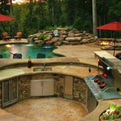 Outside Kitchen Designs Natural Cleaner 11 Gorgeous Outdoor For Sydneysiders Build Sydney Beige Stone Poolside
