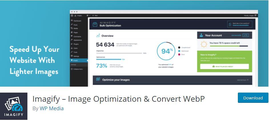 إضافة Imagify – Image Optimization & Convert WebP لضغط الصور