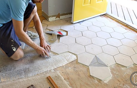 Draw a Grid to Aid in Laying Hexagon Tiles Square