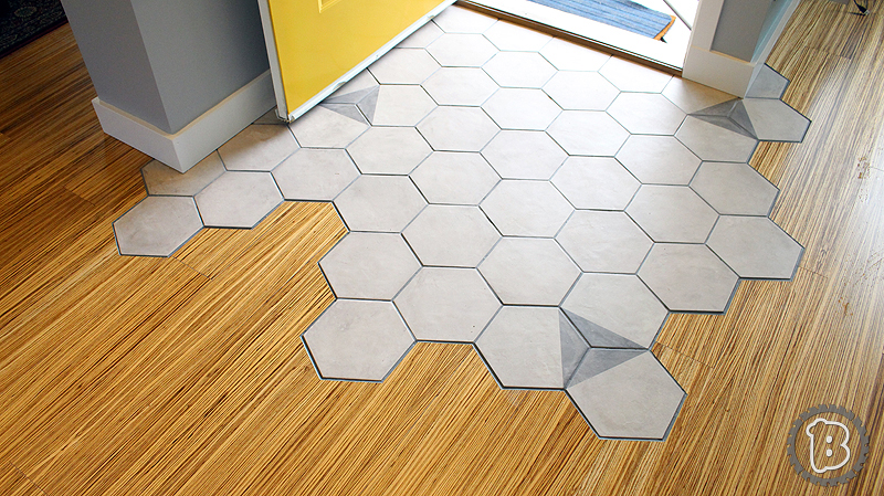 hexagon tile floor transition buildxyz. Black Bedroom Furniture Sets. Home Design Ideas