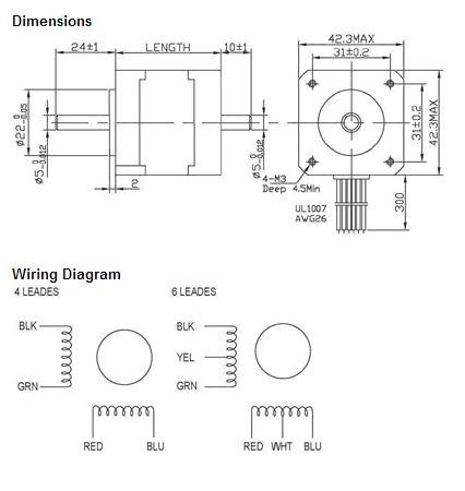 100 Ohm Platinum Wiring Diagram Electronicsandmotors Nema17 62ozin Newbiehack Motors