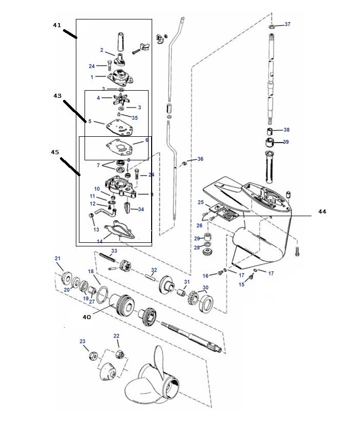 Staartstuk onderdelen (4-takt) Mercury 8, 9.9, 13.5 & 15
