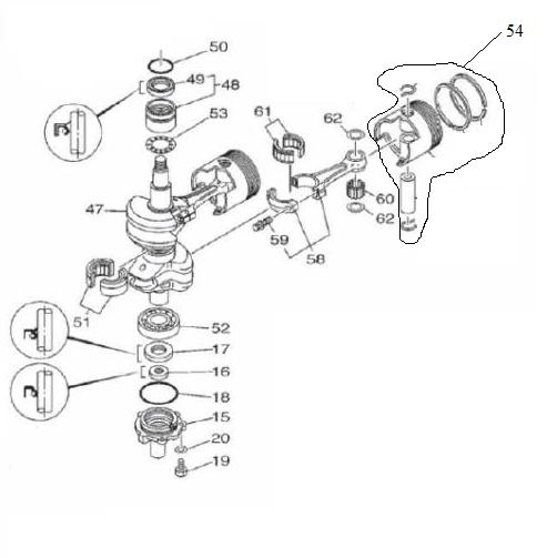 Krukas 48 & 55 pk Yamaha Onderdelen (2-takt) kopen?