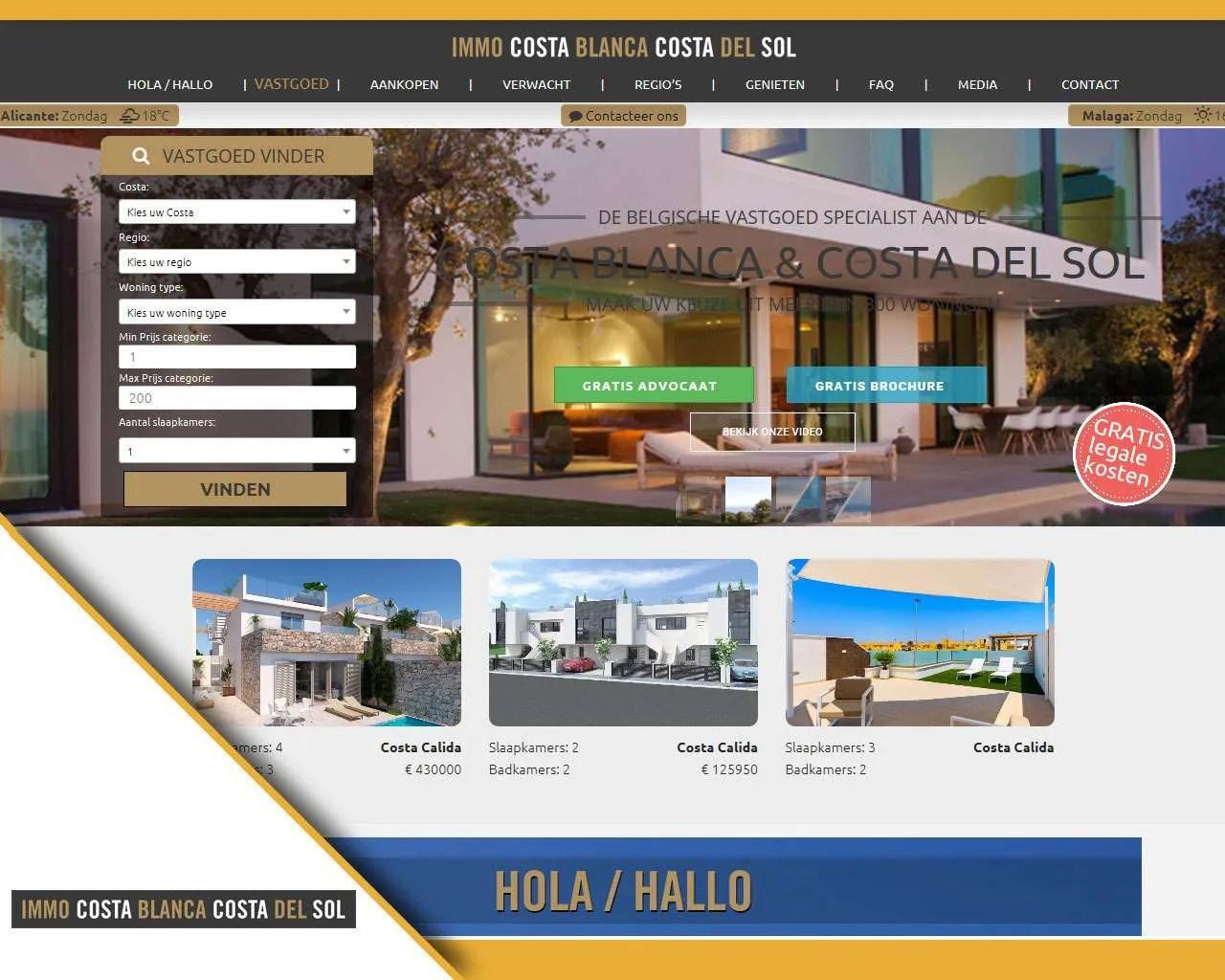 Website ImmoCostaBlancaCostaDel Sol door Buitengewoon Communicatie Averbode | Webdesign