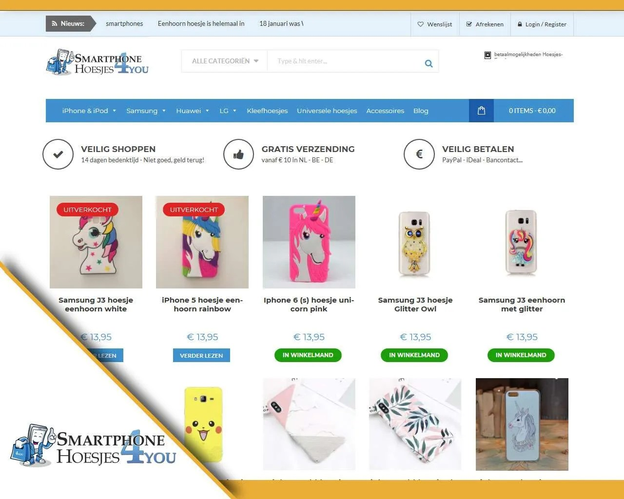 Webshop Smartphonehoesjes4u.be door Buitengewoon Communicatie Averbode | Webdesign webshops