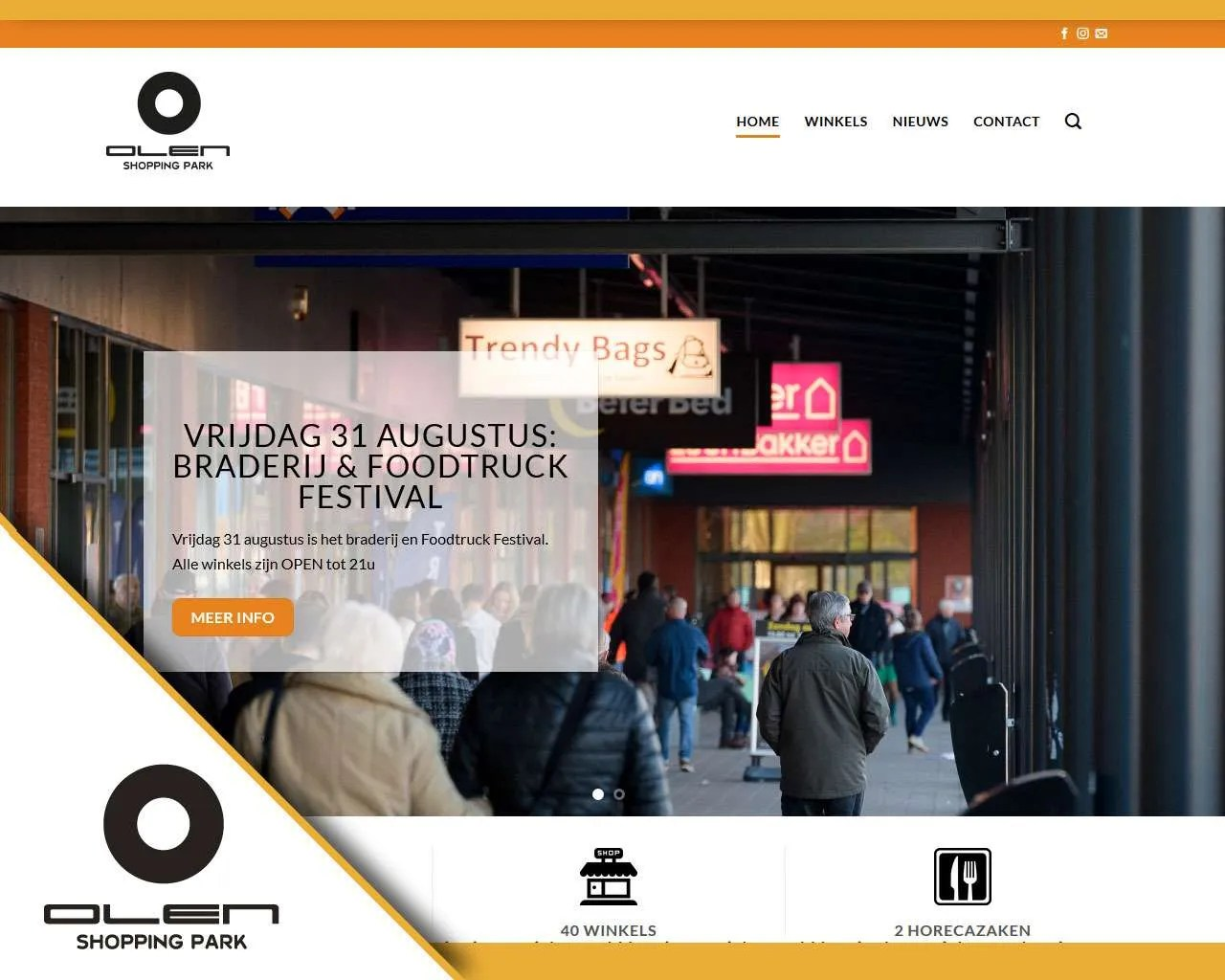 Webdesign website Olen Shopping park | Buitengewoon Communicatie Averbode