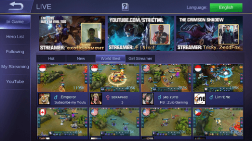 Streaming In-game